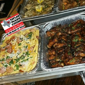 Sausage & Peppers over Penne & Hawaiian Grilled BBQ Wings