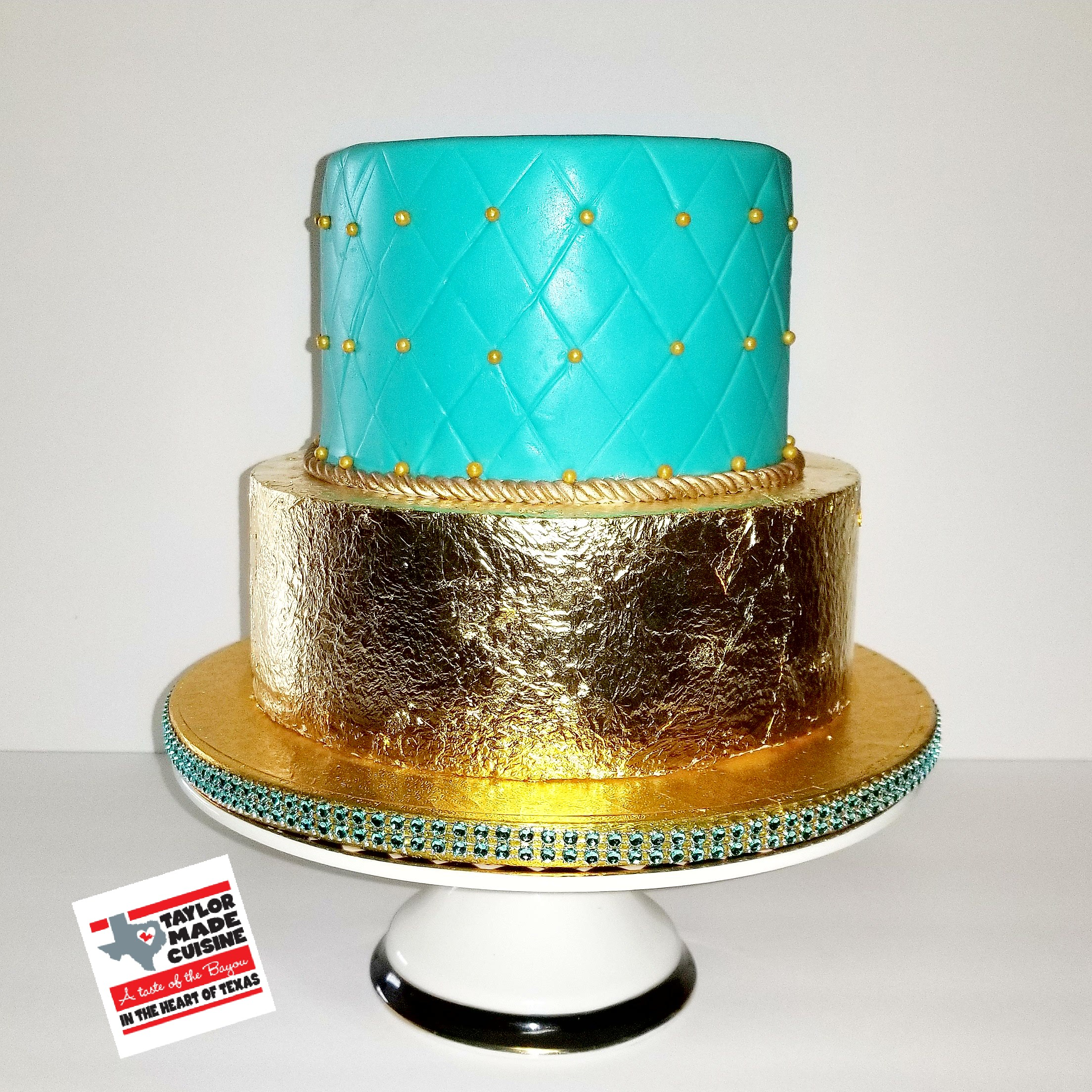 Tiffany Blue & Gold Birthday Cake