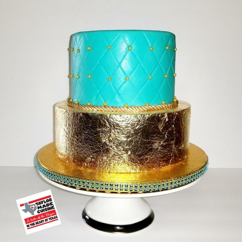 Tiffany Blue & Gold Birthday Cake