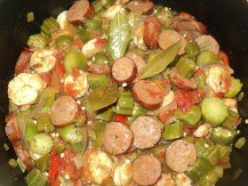 Cajun Okra with Andouille Sausage & Shrimp